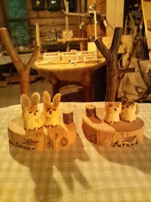 台付きセット ウサギ2匹 1500円(税込み)