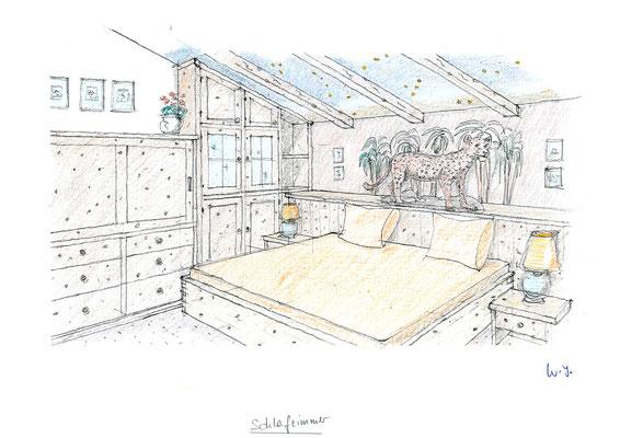 Der Entwurf für das Schlafzimmer