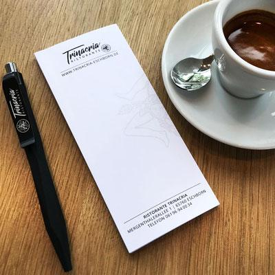 RISTORANTE TRINACRIA, Kellnerblock und Kugelschreiber