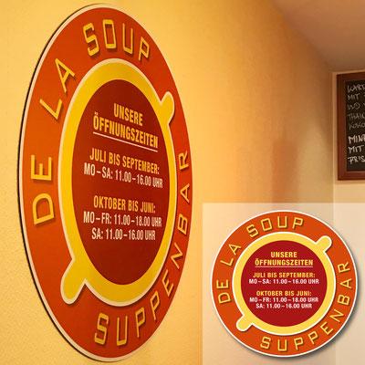 DE LA SOUP, Hinweisschild