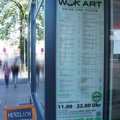 WOK ART, Speisekarte als Hinterglasaufkleber