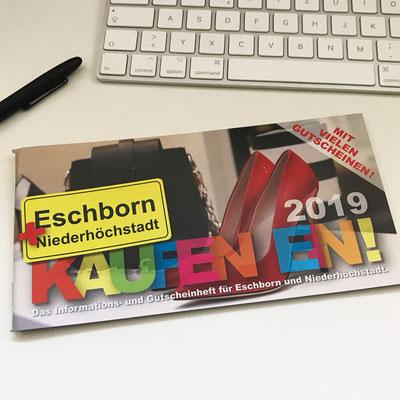 Eschborn + Niederhöchstadt kaufen ein 2019! Informations- und Gutscheinheft für Eschborn