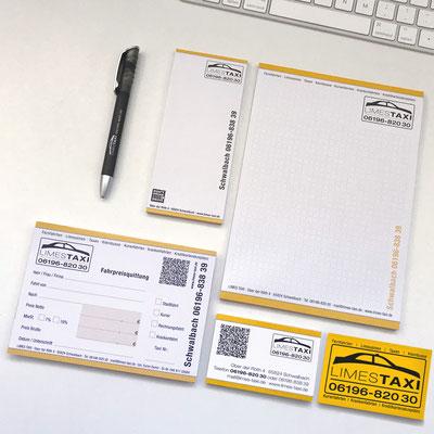 LIMES TAXI, Kugelschreiber, Kellnerblock, Schreibblock, Quittungsblock, , Visitenkarten