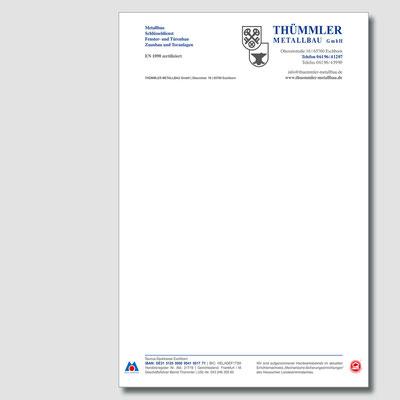 THÜMMLER METALLBAU, Briefpapier