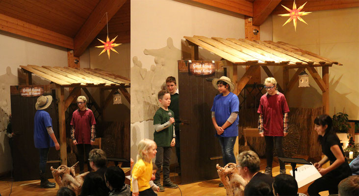 Josef (Jasmin) und Maria (Emmelie) suchen eine Herberge