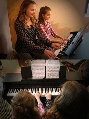 """Abigail und Jael spielten ein Stück zu vier Händen: """"O sanctissima"""" (O du Fröhliche)"""