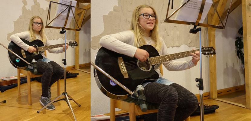 """Emmelie begleitet ein gemeinsames Lied """"Runter gekommen ..."""""""