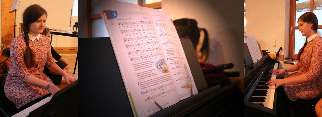 ... gemeinsame Lieder wurden von Melanie am Klavier begleitet