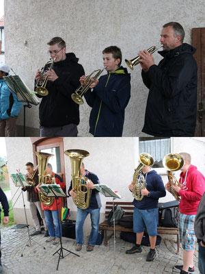 unsere Bläser - oben (v.l.n.r.): Tommy, Lukas und Ralf; unten: Timon, Dieter, Thomas, Steffen und Carsten