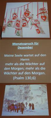 Begrüßung mit dem Monatsspruch für Dezember