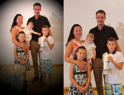 Linas Familie: Ina mit Lina, Anni, Frank und Jonas
