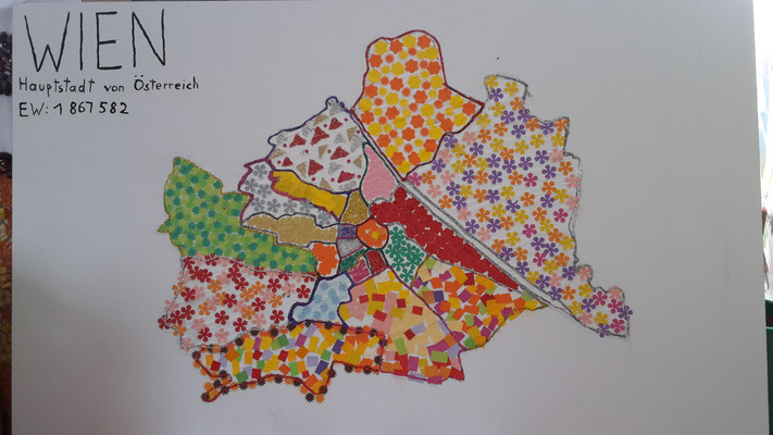 Bezirkskarte von Wien; gebastelt von den Kindern
