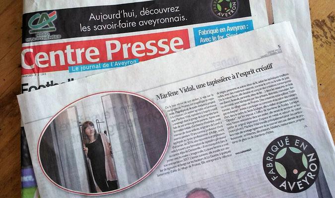Article spécial Fabriqué en Aveyron. Centre Presse du 1er février 2020.