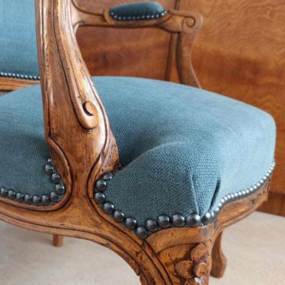 """Tissu lin et coton, clous """"Graphite"""" © Marlène Vidal"""