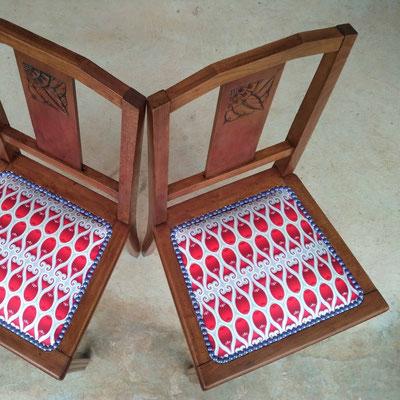 Chaises 1930 en tissu Wax © Marlène Vidal