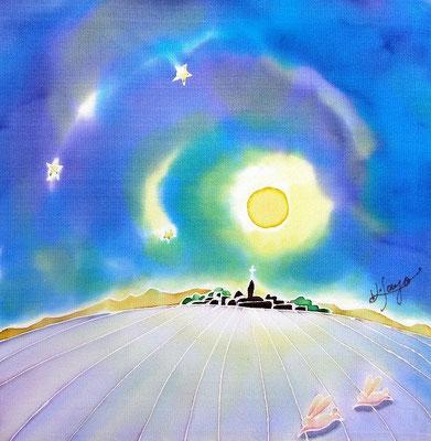 月明かりの丘:原画サイズ19x19cm SOLD