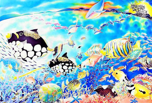 ちゅら海パーティー:原画サイズ93x62cm