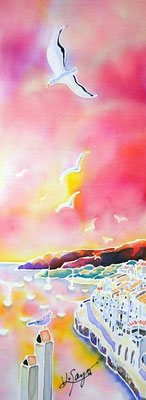 Sunset in Costa Brava:原画サイズ11x30cm SOLD