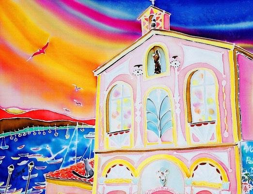 海とサン・ピエール教会:原画サイズ38x29cm
