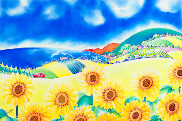 ひまわりの丘:原画サイズ73x50cm SOLD