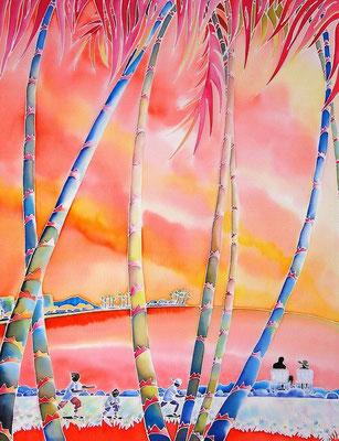 ハワイ・流れる時:原画サイズ50x65cm