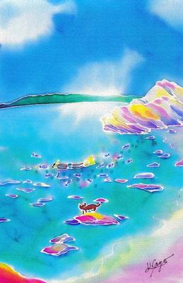 古座間味ビーチ :原画サイズ18x27cm SOLD