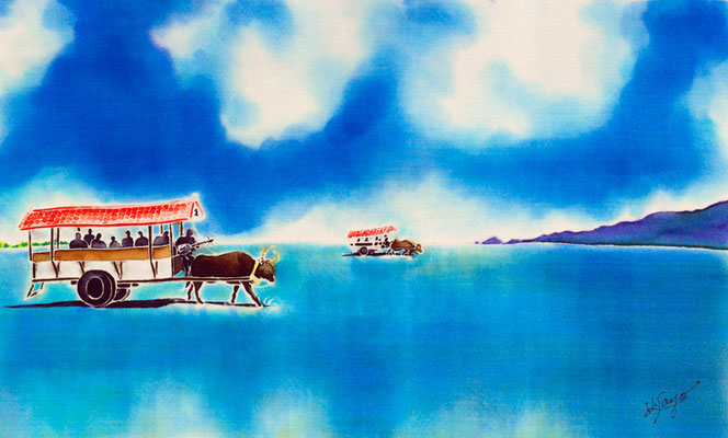 海を渡る水牛車:原画サイズ50x30cm  SOLD