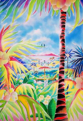 バリ・楽園の扉:原画サイズ34x49cm SOLD