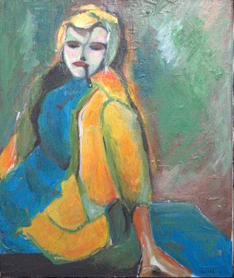 La femme, jaune, bleu Acrylique sur toile. 50 par 70