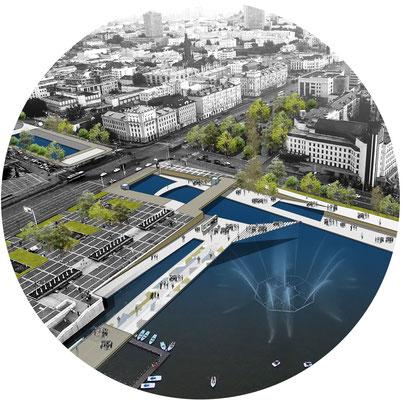 Визуализация объемно-планировочный решений площади возле театра Камала (Т.М.)