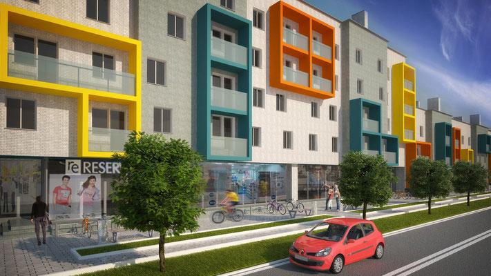 Вариант #2 решения фасадов без изменения исходных поэтажных планов