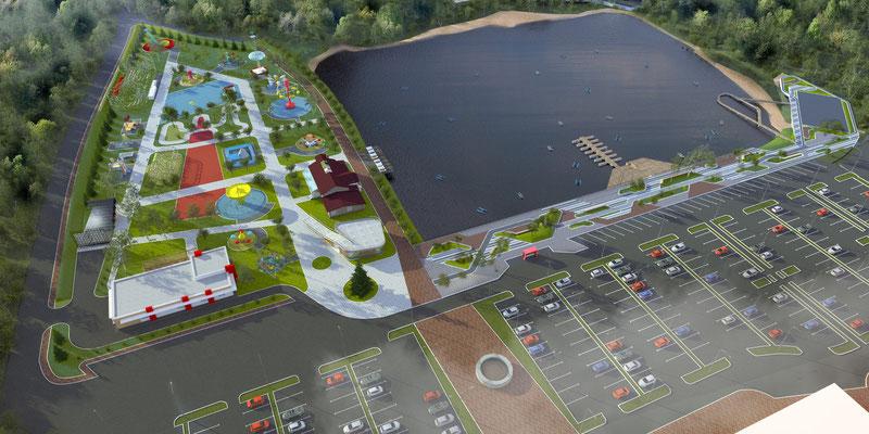 """Общий вид на парк и набережную со стороны ТРК """"Batyr Mall"""""""