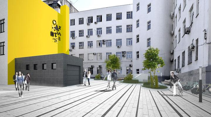 Вид на корпус музея при входе во вдвор из арки со стороны ул. Первомайской