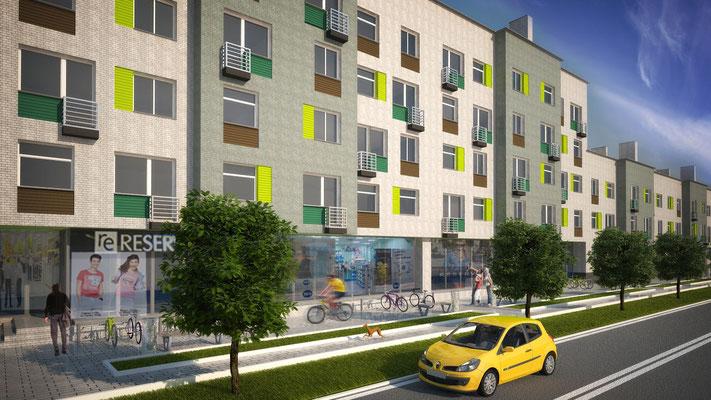 Вариант #3 решения фасадов без изменения исходных поэтажных планов