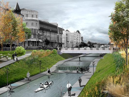 Визуализация предложения по устройству перепада уровня воды на канале Булак (Т.М.)