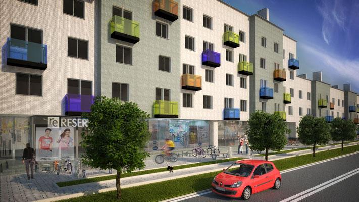 Вариант #1Б решения фасадов без изменения исходных поэтажных планов