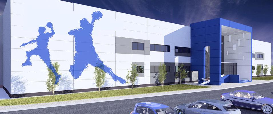 Главный фасад с силуэтами спортсменов