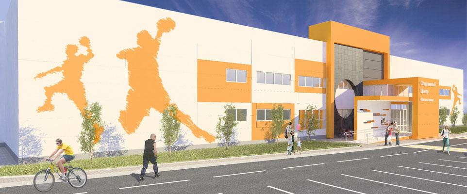 Эскиз главного фасада: ближе к углам мы предложили разместить вырезанные из самоклеющейся пленки стилизованные динамичные  силуэты спортсменов