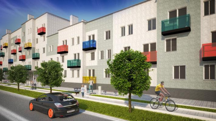 Вариант #1А решения фасадов без изменения исходных поэтажных планов