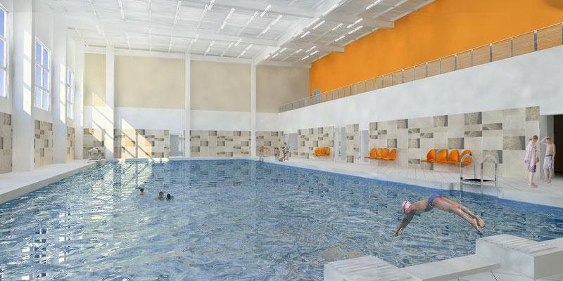 Эскиз интерьера бассейна
