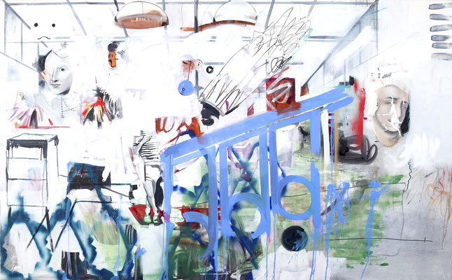 SHREDS OF A ROOM 2014 OIL ON CANVAS 150CM X 250CM