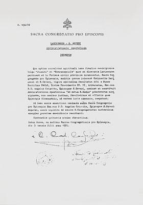"""Decreto della S. Congregazionede per i Vescovi con cui i comuni di Serracapriola e Chieuti vennero assegnati in """"amministrazione apostolica"""" al vescovo di San Severo (5 luglio 1972) [da Mammarella, Larino sacra, II, San Severo 2000]"""