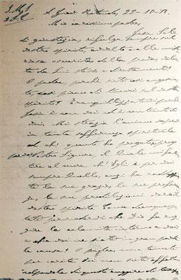 Chirografo della lettera di Padre Po a padre Benedetto, in cui racconta come avvenne la sua stimmatizzazione (1ª pagina) [cliccare per ingrandire]