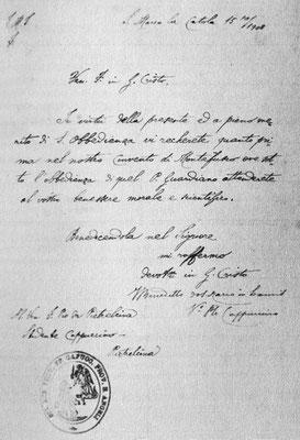 """La lettera obbedienziale che il 15 ottobre 1908 padre Benedetto Nardella inviò al giovane Cappuccino, tornato a casa per una vacanza di salute [da Paolino da Casacalenda, """"Le mie memorie intorno a padre Pio"""", San Giovanni Rotondo 1978]"""