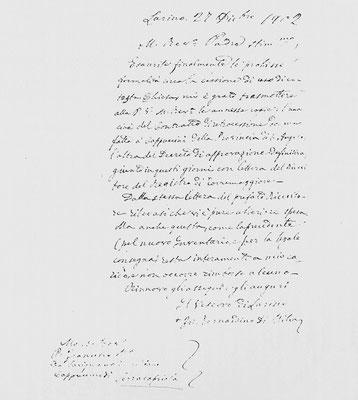 Lettera del vescovo di Larino, mons. di Milia, al Superiore del convento di Serracapriola, padre Francesco Maria da Savignano, allegata alla copia degli atti, a conclusione dell'iter burocratico (27 dicembre 1902)