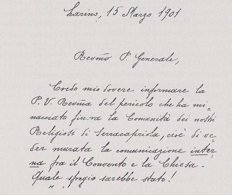 Lettera del vescovo di Larino, mons. di Milia, al Ministro generale dei Cappuccini, padre Bernardo Christen d'Andermatt, 1ª pagina (15 marzo 1901)