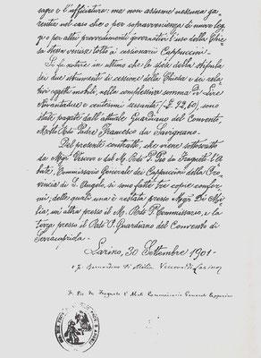 Contratto di cessione dell'uso della Chiesa conventuale fatto dal vescovo di Larino, mons. di Milia, alla Provincia cappuccina di S. Angelo, nella persona del padre Pio Nardone da Fragneto l'Abate, suo Commissario generale, 4ª pagina (30 settembre 1901)