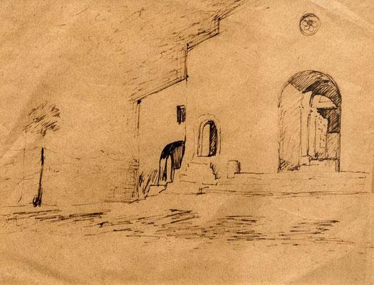 AMEDEO TRIVISONNO, Ingresso della chiesa di Santa Maria Maggiore a Campobasso (1950), china su carta