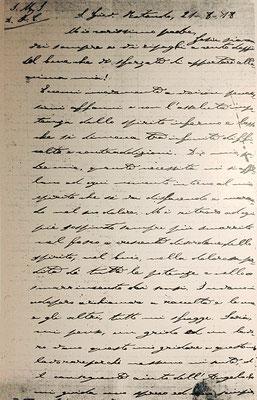 """Chirografo della lettera di Padre Pio a padre Benedetto, in cui narra come gli fu trapassato il cuore da un """"misterioso personaggio"""" (1ª pagina) [cliccare per ingrandire]"""