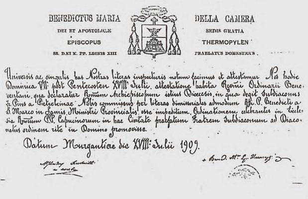 Attestato dell'ordinazione a diacono di Fra Pio da Pietrelcina. L'ordine del diaconato gli venne impartito il 18 luglio 1909 da mons. Benedetto Maria Della Camera, vescovo di Termopile